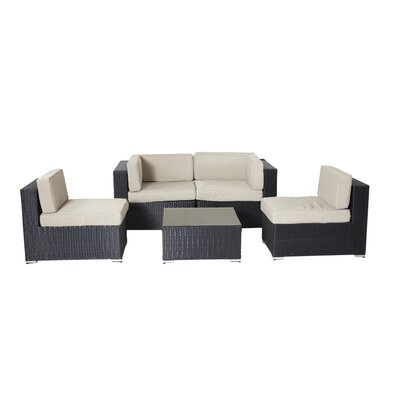 Shadow Shay 5 Piece Deep Seating Group with Cushions Fabric: Taupe