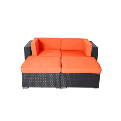Shadow Soho 4 Piece Deep Seating Group with Cushion Fabric: Orange