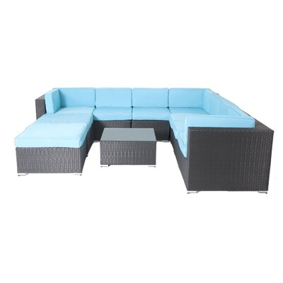 Shadow 10 Piece Lounge Seating Group with Cushions Fabric: Turuoise