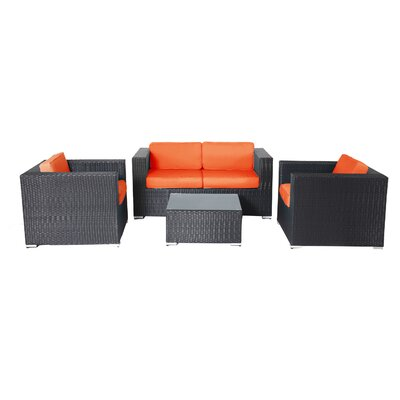 Shadow 4 Piece Deep Seating Group with Cushions Fabric: Orange