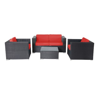 Shadow 4 Piece Deep Seating Group with Cushions Fabric: Red