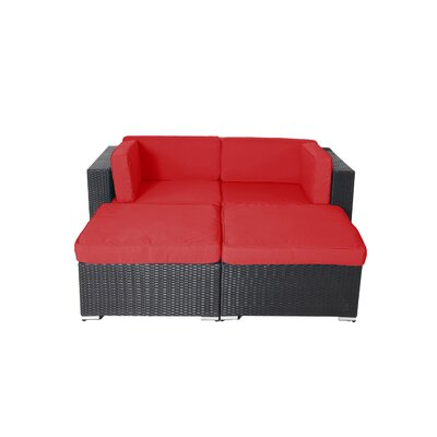 Pangea Home Shadow Soho 4 Piece Rattan Conversation Set with Cushions Fabric: Red