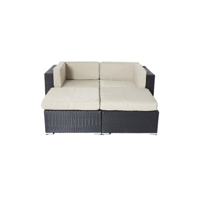 Shadow Soho 4 Piece Deep Seating Group with Cushion Fabric: Taupe