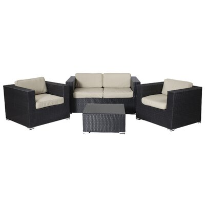 Shadow 4 Piece Deep Seating Group with Cushions Fabric: Taupe