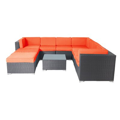 Shadow 10 Piece Lounge Seating Group with Cushions Fabric: Orange