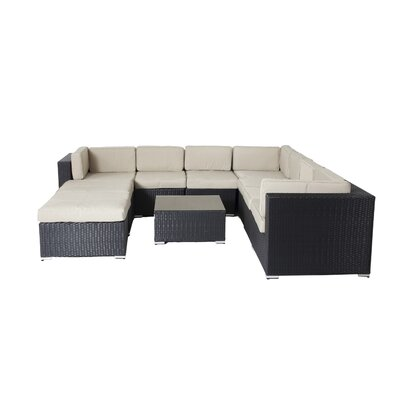Shadow 10 Piece Lounge Seating Group with Cushions Fabric: Taupe