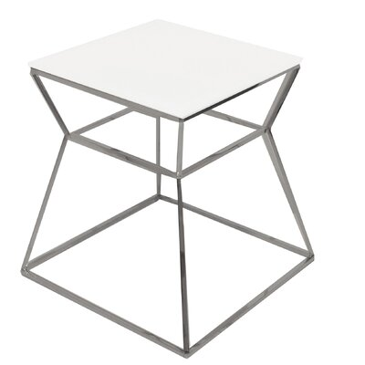 Prism End Table Color: White