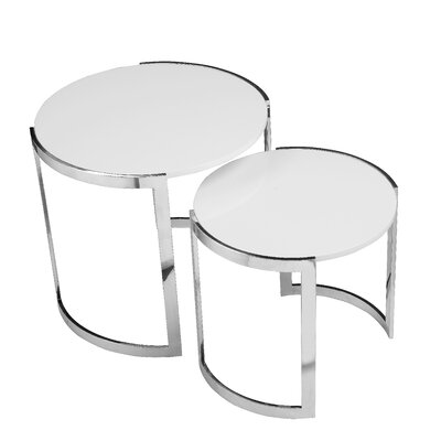 Omni 2 Piece Nesting Table Set Color: White