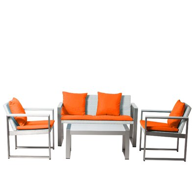 Chester 4 Piece Lounge Seating Group with Cushions Fabric: Orange