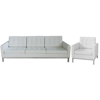 Flore 2 Piece Living Room Set Upholstery Color: White