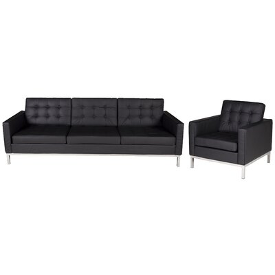 Flore Sofa Set Upholstery Color: Black