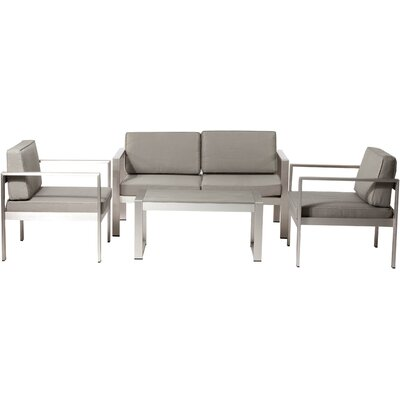 4 Piece Karen Lounge Seating Group with Cushion Finish: Taupe