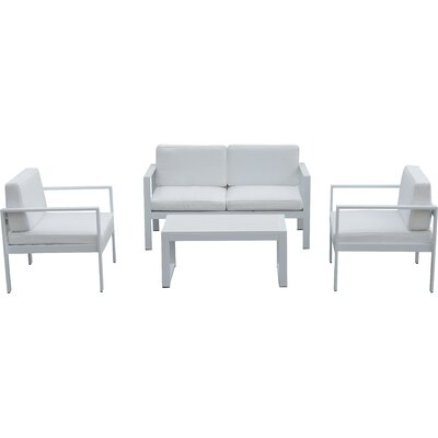 4 Piece Karen Lounge Seating Group with Cushion Finish: White