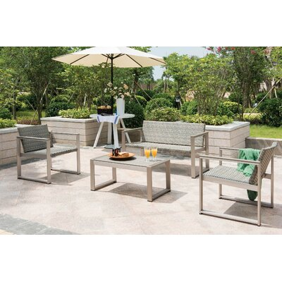 Chester 4 Piece Lounge Seating Group with Cushions Fabric: Gray