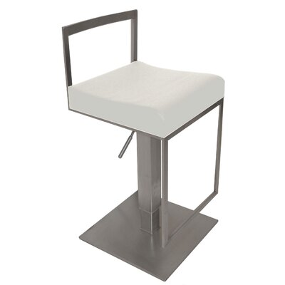 Adjustable Height Bar Stool with Cushion Upholstery Color: White