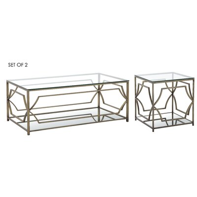 Cormac 2 Piece Coffee Table Set Color: Brushed Brass