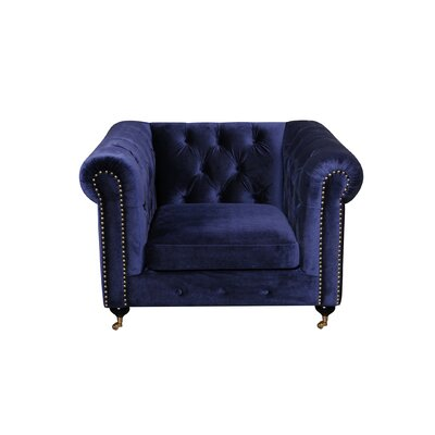 Noelia 1 Seater Chesterfield Sofa Finish: Gold, Upholstery: Navy