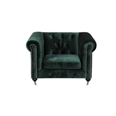 Noelia 1 Seater Chesterfield Sofa Upholstery: Green, Finish: Silver