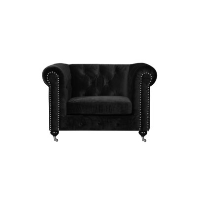 Noelia 1 Seater Chesterfield Sofa Upholstery: Black, Finish: Silver