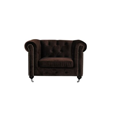 Noelia 1 Seater Chesterfield Sofa Upholstery: Chocolate, Finish: Silver