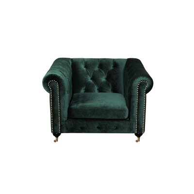 Noelia 1 Seater Chesterfield Sofa Finish: Gold, Upholstery: Green