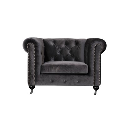Noelia 1 Seater Chesterfield Sofa Finish: Silver, Upholstery: Silver