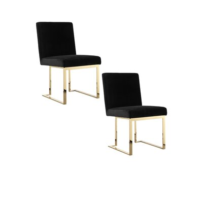 Dupree Armless Upholstered Dining Chair Upholstery Color: Black, Leg Color: Gold