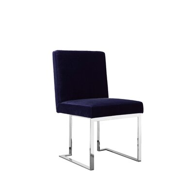 Dupree Armless Upholstered Dining Chair Upholstery Color: Navy, Leg Color: Silver