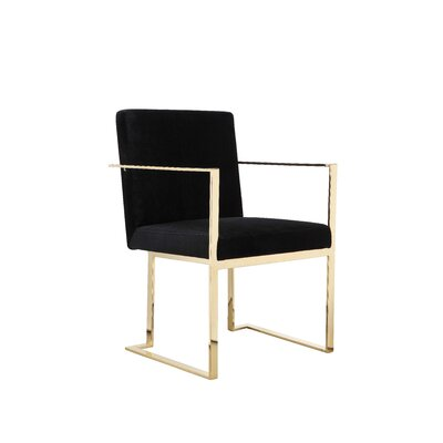 Dupree Upholstered Dining Chair Upholstery Color: Black, Frame Color: Gold