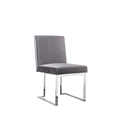Dupree Armless Upholstered Dining Chair Upholstery Color: Gray, Leg Color: Silver