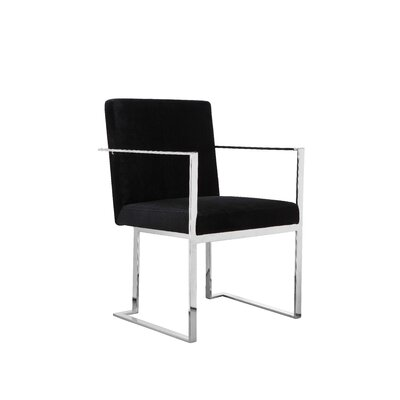 Dupree Upholstered Dining Chair Upholstery Color: Black, Frame Color: Silver