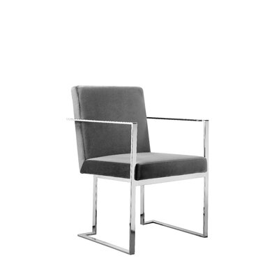 Dupree Upholstered Dining Chair Upholstery Color: Gray, Frame Color: Silver