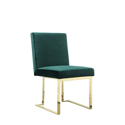 Dupree Armless Upholstered Dining Chair Upholstery Color: Green, Leg Color: Gold
