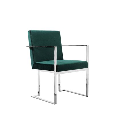 Dupree Upholstered Dining Chair Upholstery Color: Green, Frame Color: Silver