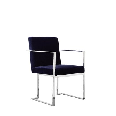 Dupree Upholstered Dining Chair Upholstery Color: Navy, Frame Color: Silver