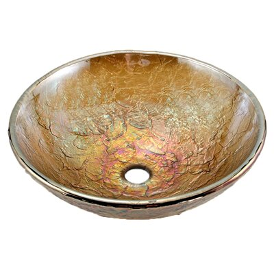 Glass Circular Vessel Bathroom Sink Sink Finish: Green Reflections