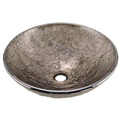 Glass Circular Vessel Bathroom Sink Sink Finish: Black Nickel