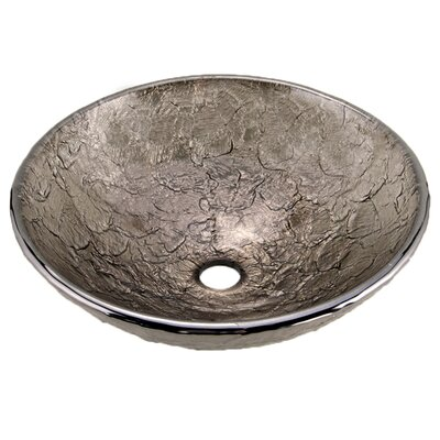 Glass Circular Vessel Bathroom Sink Sink Finish: Black Nickel
