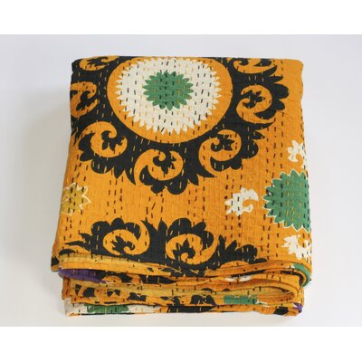 Kantha Suzani Cotton Throw Color: Yellow
