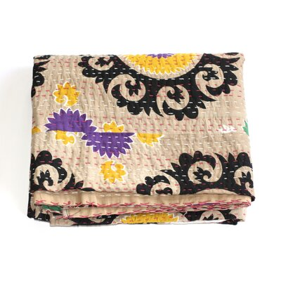 Kantha Suzani Cotton Throw Color: Tan