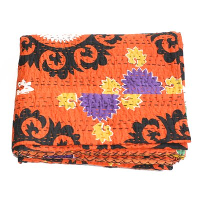 Kantha Suzani Cotton Throw Color: Orange