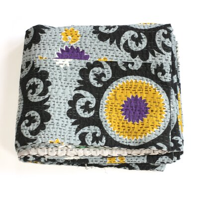 Kantha Suzani Cotton Throw Color: Grey