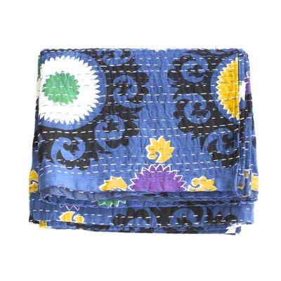 Kantha Suzani Cotton Throw Color: Blue