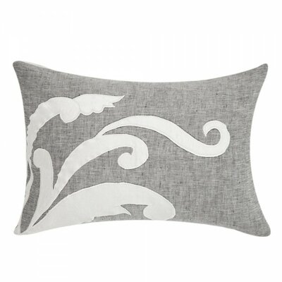 Applique Linen Lumbar Pillow