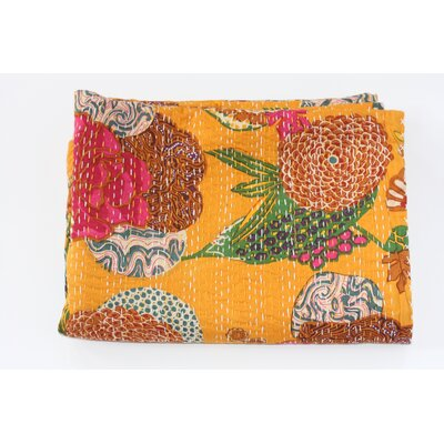 Kantha Abstract Floral Cotton Throw Color: Yellow