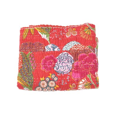Kantha Abstract Floral Cotton Throw Color: Red