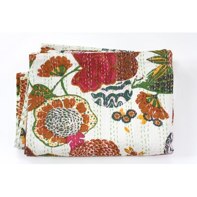 Kantha Abstract Floral Cotton Throw Color: White