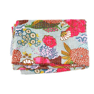 Kantha Abstract Floral Cotton Throw Color: Grey