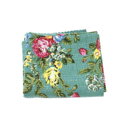 Kantha Floral Cotton Throw Color: Green