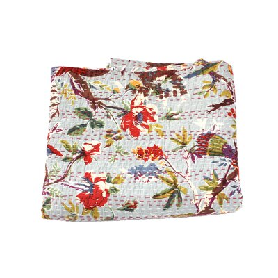 Kantha Bird Print Cotton Throw